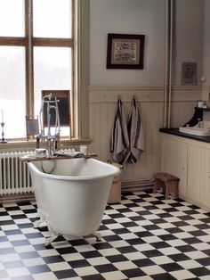 Bathroom Interior At North Peace-Norrfrid Bad Inspiration, Bathroom Inspiration, Yellow Bathroom Accessories, Yellow Bathrooms, Wood Look Tile, Bathroom Floor Tiles, Bathroom Rugs, Beautiful Bathrooms, Bathroom Interior