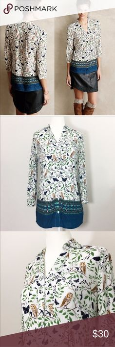 {Anthropologie} Maeve Woodland Walk Button down Highly popular Woodland Walk button down by Maeve in the green motif from Anthropologie. Features owls and butterflies. Excellent condition. 3/4 sleeves. So adorable!! Anthropologie Tops Button Down Shirts