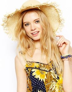 57f80c4ff3e Asos Raw Edge Straw Floppy Hat in Natural
