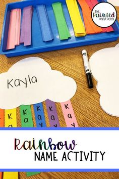 Rainbow Name Activity for Preschoolers Here is a fun and easy way to practice names with preschoolers. Plus, you get a cute rainbow craft at the end. This activity is great for writing, fine motor, letter and name practice, and color recognition. Rainbow Crafts Preschool, Name Activities Preschool, Name Writing Activities, Preschool Weather, Rainbow Activities, Preschool Colors, Preschool Literacy, Preschool Lesson Plans, Preschool Letters
