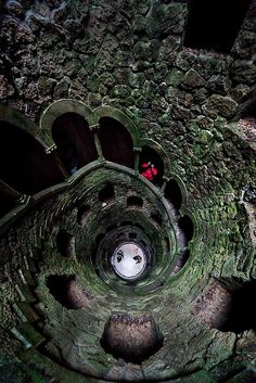 Quinta da Regaleira, Sintra, Portugal - The initiation shaft of Free Mason rituals, in Quinta da Regaleira, Sintra, 27 meters deep.
