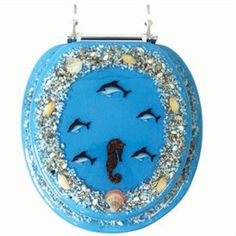 Blue Dolphin and Seahorse Acrylic Toilet Seat