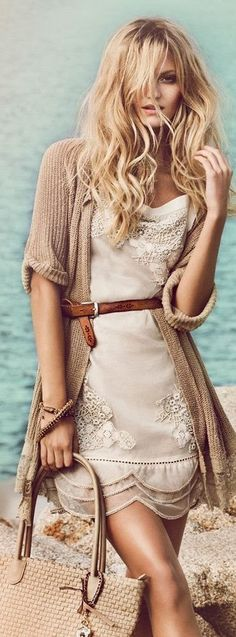 bohemian dress wrapped in a cardi & tied with a skinny belt.