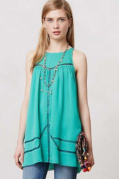 Anthropologie - Embroidered Haritha Tank...I think this would be adorable with tights!