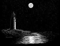 Silent Beacon - Sratchboard Art by James Ferris www.jamesferrismusic.com
