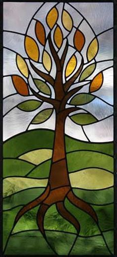 tree and roots stained glass panel