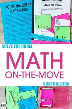 """Solve the Room with Subtraction! No time for travel? No problem. Add manipulatives and use these cards as a hands-on math center! The 4 x 6"""" cards are the perfect size for collaborative learning games in small or whole group settings (Around the World, Go Fish, and Concentration)."""
