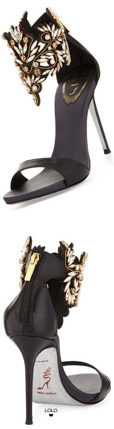 Rene Caovilla ~ Embellished Ankle Cuff Black Sandal 2015