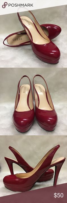 Guess High Heels Every girl needs a pair of red heels in her wardrobe. These heels have a 5 inch heel and are 2 1/2 inches wide. They also have a 1 inch platform. No matter what you pair them with, they'll be the perfect pop of color to any outfit. Guess Shoes Heels
