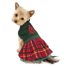 East Side Collection ES Holly Days Plaid Dress S ** Additional details found at the image link  : Dog Dresses