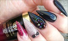 Glossy Black, With Rainbow Dark Swarovski Crystals, Shimmery Nude & Black Netting, Cute black Bow & Burgundy Glitter. Burgundy Acrylic Nails, Acrylic Gel, Black Nails, Luminous Nails, 3d Nails, Cute Bows, Nail Inspo, Nails Inspiration, Swarovski Crystals