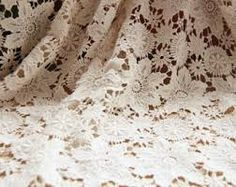 Image result for woman sitting in handmade crochet lace dress beige or brown