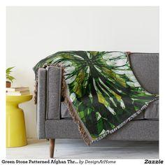 Green Stone Patterned Afghan Throw Blanket