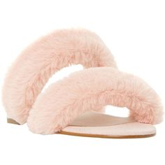 Dune Lilliana Fluffy Slider Sandals (£26) ❤ liked on Polyvore featuring shoes, sandals, block-heel sandals, faux fur shoes, dune sandals, fleece-lined shoes and low block heel shoes