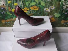 MOSSIMO Women Black and Burgundy Snake Print Fashion Shoes  size 9.5 New #Mossimo #FashionAnkleBoot