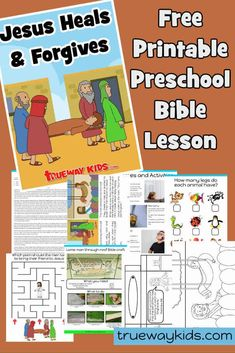 Free printable Bible lesson on the 4 men who brought their friend to Jesus. Includes worksheets, games and activities, coloring pages, craft and more. Preschool Bible lesson for home or church,. Preschool Bible Lessons, Bible Lessons For Kids, Bible Activities, Rainbow Activities, Sunday School Crafts For Kids, Bible Crafts For Kids, Learn The Bible, Kids Church, Church Ideas