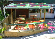 Our outdoor classrooms are ideal for providing weather protected, colourful spaces. We can build in any size to fit your space and needs. We can build from natural oak branches and treated timber as well as reinforced, impact resistant and UV protected translucent roof panels. The roof and side translucent panels will feature artist-designed imagery …