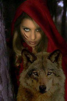Little Red Riding Hood & Wolf Anime Wolf, Wolf Spirit, My Spirit Animal, Foto Fantasy, Fantasy Art, Fantasy Quotes, Fantasy Animal, Illustration Fantasy, Couple Illustration