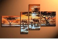 100% Hand-painted Free Shipping Wood Framed Grassland Elephants Decoration Modern Abstract Landscape Oil Painting on Canvas 4pcs/set Mixorde