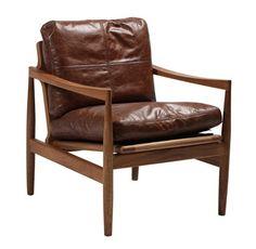 Sofa Escandinavo en piel natural marrón y nogal macizo
