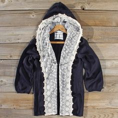 Laced Moon Hoodie in Navy, Sweet Lace Sweaters from Spool No.72.   Spool No.72