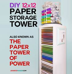 I looked into some pre-built paper storage solutions, but … they are very pricey! DIY to the rescue! I came up what I'm calling my Paper Tower of Power, and you're going to love this for your scrapbook paper. It's not very expensive, and you can customize it to your needs. If a vertical tower isn't right for you, or you need more storage, the IKEA unit I use comes in many different sizes and configurations. Check out this DIY Vertical Organizer project from Jennifer Maker  blog. #crafter…
