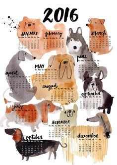 Modern Dog Calendars for 2016 - Dog Milk Art And Illustration, Illustration Inspiration, Graphic Design Inspiration, Dog Calendar, Print Calendar, Calendar Layout, 2016 Calendar, Planner 2018, Kalender Design