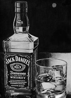 Pencil Drawing - Jack Daniels by LazzzyV