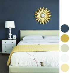 Take note of color scheme used with the dark blue walls