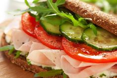 Cucumber, tomato, turkey sandwich 274cal 704mg sodium...will replace the spread w/ something else to reduce sodium!