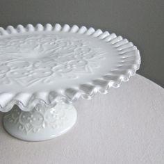 Milk Glass Cake Plate by Fenton Silver by BarkingSandsVintage. $95.00 USD, via Etsy.
