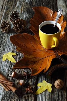 Cup of coffee on wooden maple leaf - Cup of coffee on decorative wooden maple leaf, nuts and autumn leaves ☮ * ° ♥ ˚ℒℴѵℯ cjf Coffee Cafe, Coffee Drinks, Coffee Shop, Good Morning Coffee, Coffee Break, I Love Coffee, My Coffee, Café Croissant, Maple Leaf
