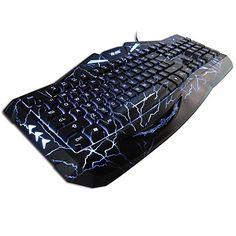 HUSOAR K-RAY K813 Gaming Keyboard Natural Ergonomic Crack Multi-Backlit Colors Wired - Black