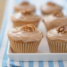 """: * L – Cooking Light's Double-Maple Cupcakes Recipe: """"These pint-sized desserts contain the best of maple syrup. Maple Cupcakes, Fun Cupcakes, Cupcake Cakes, Cup Cakes, Maple Donuts, Chocolate Cupcakes, Cupcake Recipes, Baking Recipes, Dessert Recipes"""