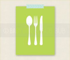 Silverware- Kitchen Art - Home Art - Custom Wall Print Poster. $15.00, via Etsy.