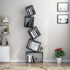 This Floating Cube Bookcase adds both stylish look and function to your living room, office, and bedroom. You can choose to assemble 3 shelves, 4 shelves or 5 shelves as desired. Flexible design easily meets your different demands. Bookshelf Design, Wall Shelves Design, Bookshelf Decorating, Living Room Decor, Bedroom Decor, Wall Decor, Unique Shelves, Unique Bookshelves, Cube Bookcase