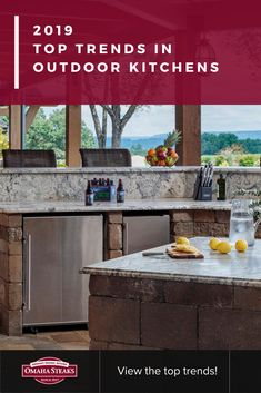 Top Trends in Outdoor Kitchens Grilling The Perfect Steak, Modern Outdoor Kitchen, Outdoor Cooking Area, Omaha Steaks, Grill Island, Outdoor Living Rooms, Grilling Ideas, Bbq Ideas, Built In Seating