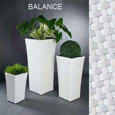Pflanzgefäß BALANCE aus Polyrattan weiß