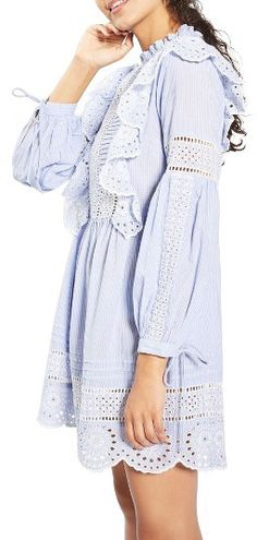 Women's Topshop Ruffle Cutwork Stripe Dress