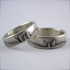 Wedding Band Set 5mm Forest Ring and 6mm by BethMillnerJewelry, $730.00