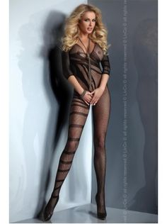 4025085fa Black Striped Fishnet Bodystocking for Womens Sexy Lingerie Bodystockings