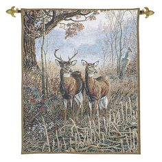 Woodland Deer - Fine Woven Tapestry Wallhanging Delightful woodland tapestry with deer gazing into the distance Beautiful muted colours Fine Woven