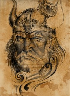 Old Viking Warrior Tattoo Design Viking Warrior Tattoos, Viking Warrior Woman, Warrior Women, Bild Tattoos, Body Art Tattoos, Face Tattoos, Tattoo Art, Viking Power, Viking Head