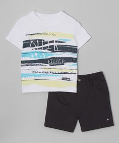 Look what I found on #zulily! White Surfboard Tee & Black Shorts - Infant by Quiksilver #zulilyfinds