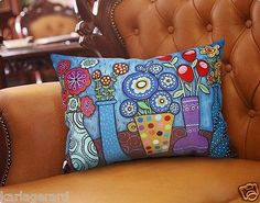Pots Of Flowers PILLOW COVER Velvet or Cotton Canvas FOLK ART KARLA GERARD..new rectangle pillow cover featuring my art...