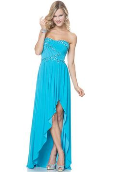 Sweetheart Sheath Asymmetrical Chiffon Prom Dresses with Beading