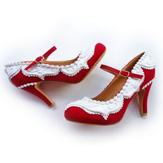Red Velvet Mary Janes ❤ liked on Polyvore featuring shoes, high heel mary janes, red high heel shoes, velvet shoes, red shoes and red mary jane shoes