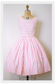 pink & white stripe dress