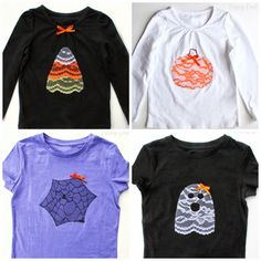 Once I got started with these lace Halloween shirts, I just couldn't stop! I showed you the Candy Corn Shirt that I made last week, and now I've got a couple more. First up, a pumpkin shirt that I made for little Leah. The steps are pretty much the same as they were for Candy …