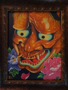 "Fine Art Giclee framed canvas print 11X14"" hannya noh mask japanese art tattoo art noh theatre oni mask hannya mask on Etsy, $150.00"